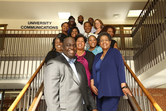 Pictured (front, center) Eric Stringfellow, (second row, left to right) Linda Daniels, Reena Evers-Everette, Gina Carter-Simmers, Myrlie Evers, (third row) Germaine Williams, Franshell Fort, Keith Collins, Jean Gordon Cook, Pamela Berry-Johnson, (fourth row), Jamea Adams-Ginyard, D'Artagan Winford and Gerard Howard. Not pictured, Shelia Byrd and Spencer McClenty.