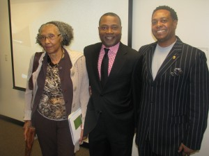 Rep. Alyce Clarke, College of Public Service Dean Dr. Ricardo Brown and Sen. Kenneth Wayne Brown at a Mississippi Black Legislative Caucus event, providing information about the Affordable Care Act.