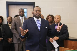 College of Education Dean Dr. Daniel Watkins speaks during event celebrating wireless initiative at Blackburn Middle School.