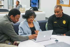 JSU President Carolyn W. Meyers 'gets connected' at grand opening of Innovate, a center for faculty to create and disseminate  digital content.