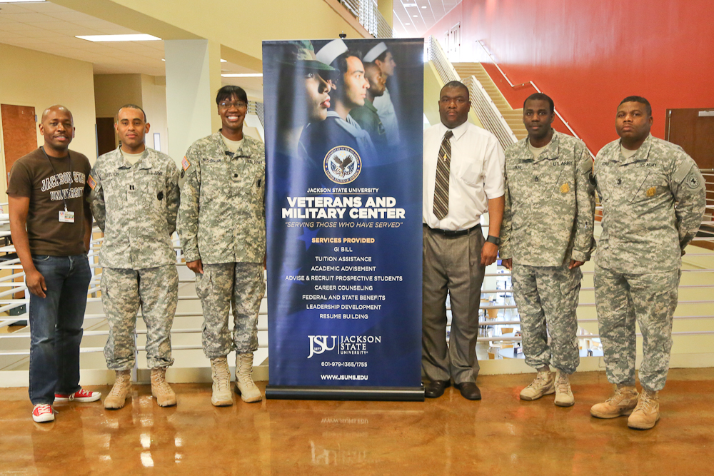 L to R: Keith Riley, Extended Studies Recruiter; Capt. James Shelton; Lt. Col. Monica Washington; Tim Abrams, Veterans Center Director;  Sgt. 1st Class Kevin Liburd; 1st Sgt. Johnny Ford