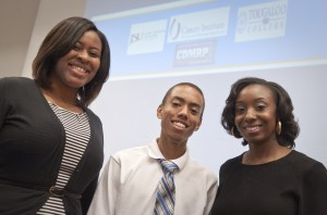 Jackson State University students (from left) Brittany Martin, Anthony Keyes and Tatyana Givens are among six undergraduates who  completed a 10-week program at the University of Mississippi Medical Center that focuses on eradicating prostate cancer.