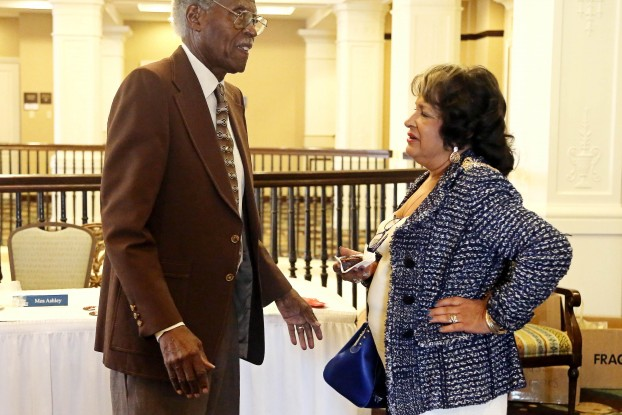 Jackson State University President Dr. Carolyn W. Meyers visits with JSU President Emeritus Dr. John A. Peoples Jr. after a meeting Friday, Sept. 19, of the Jackson State University National Alumni Association Inc. at the Hilton Garden Inn in Jackson.