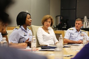 U.S. Coast Guard Commander Zeita Merchant (left) speaks as Admiral Paul F. Zukunft (right), the commandant of the U.S. Coast Guard, and his wife, his wife, Fran DeNinno-Zukunft, Coast Guard ombudsman-at-large, listen during a meeting Friday, Oct. 24, at the JSU College of Science, Engineering and Technology building. (Photo by Charles A. Smith, JSU)