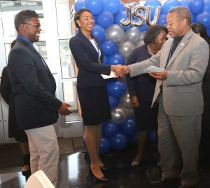 Innovation jsu blueprint mississippi entrepreneur award winners sierra jackson and javis jones left are congratulated by dr william mchenry malvernweather Image collections