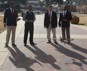 "Frederick Burns, Fredicus Funchess, Josue DeLeon and Jonathon Buchanon built a ""Tiger Cam"" drone aircraft from scratch for their senior Engineering School project, Dec. 4, 2014. (Photo by Charles A. Smith, JSU)"