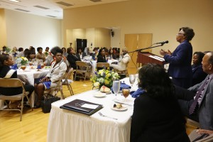"Dr. Cora B. Marrett speaks on ""The Changing Landscape of Higher Education"" at the Walter Payton Center for JSU's Presidential Leadership Lecture Series, Monday, April 27, 2015. (Photo by Charles A. Smith, JSU)"