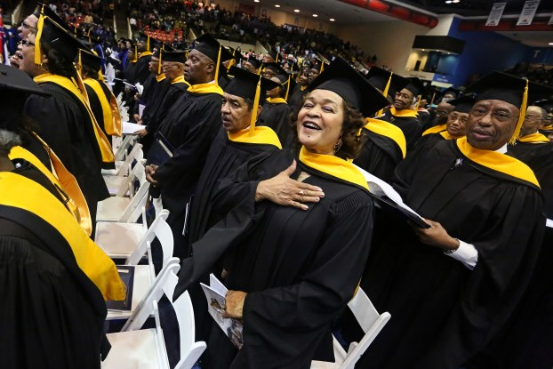The Class of 1965 celebrate receiving their golden diplomas during the 2015 Spring Graduate Commencement exercises at Jackson State University on Friday, May 1.