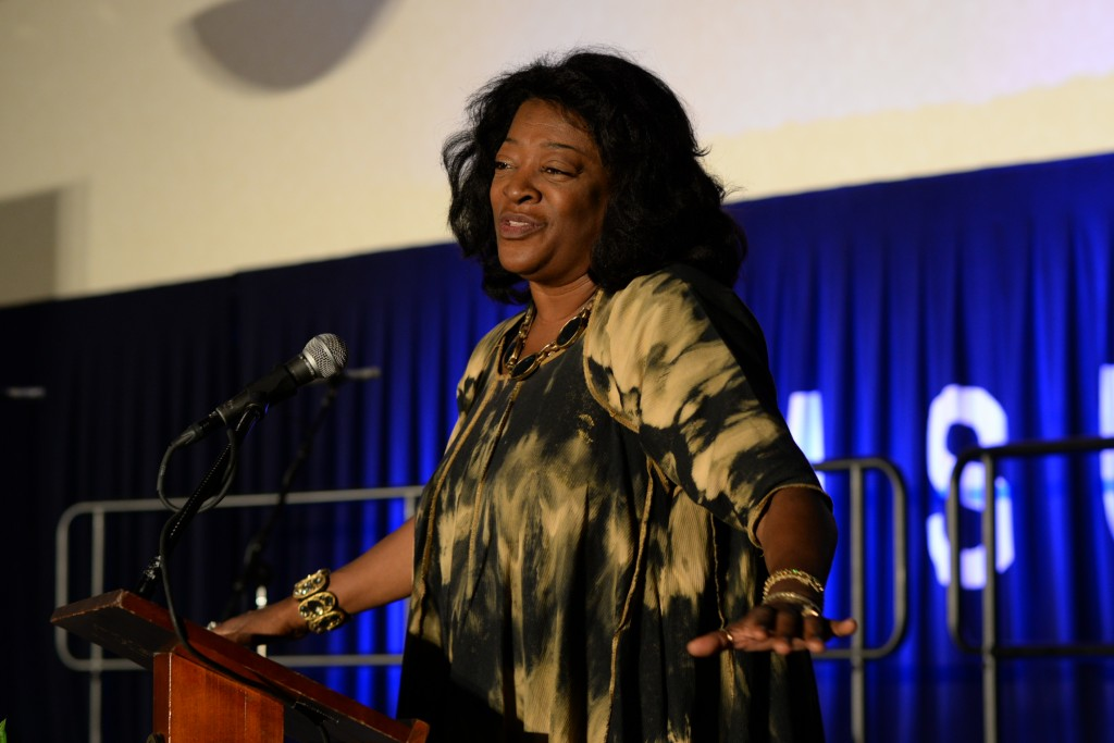 "Dr. Tommie Tonea Stewart, a professor and actress known for her role in television's ""The Heat of the Night,"" offered a tribute to her mentor, Walker Alexander. She said he helped typed rewrites for ""Jubilee"" by the famous historian. (Photo by Charles A. Smith)"