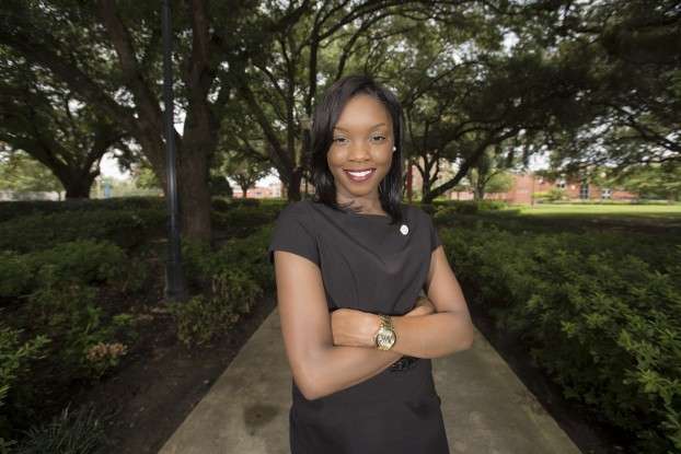 Overcoming hardships, JSU freshman biology major Adrienna Williams, a Yazoo native, plans to become a physician. (Photo by Charles A. Smith/JSU)