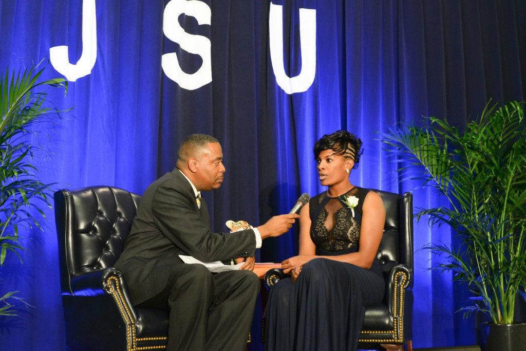 Rob Jay, executive producer of JSU Sports Media, talks with 2015 Hall of Fame inductee Michelle Houston about her notable athletic contributions. (Photo by Darek Ashley/JSU)