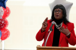 """Keynote speaker Dr. Martha McRavin-Oliver, a retired U.S. Army colonel, said, """"A veteran is unafraid to lay down his or her life for the assurance that each of us, both young and old – all Americans – can sleep peacefully and safely at night."""" (Photo by Deontae Williams/JSU)"""