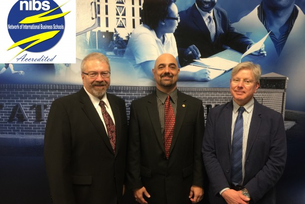Members of the Network of International Business School panel of examiners meet with JSU College of Business dean, Dr. Ramin Maymasi (center) during a recent site visit.