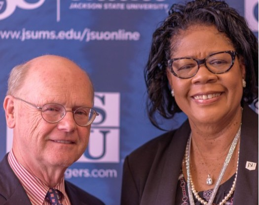 Dr. Will Norton, dean, Meek School of Journalism and New Media at the University of Mississippi and Dr. Elayne Antony, dean, School of Journalism and Media Studies at Jackson State University.