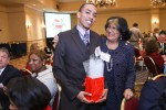 JSU President Carolyn W. Meyers congratulates junior chemistry student Anthony Keyes. During the state's Higher Education Appreciation Day – Working for Excellence (HEADWAE) ceremony, Keyes was among dozens of students representing universities and colleges who were praised for outstanding performances.  (Photo by Charles A. Smith/JSU)