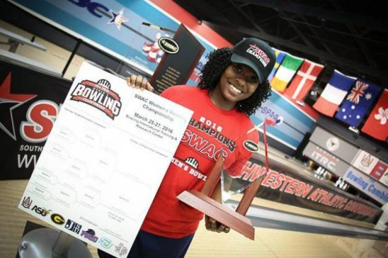 Junior, Briana Reid, named Most Valuable Bowler in SWAC Tournament.