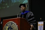 "Dr. James T. Minor, a JSU alum and deputy assistant secretary in the Office of Postsecondary Education in the U.S. Department of Education, told graduates that ""there are plenty of spaces for you to insert yourself and your newly minted master's degree or Ph.D. into this social landscape to deal with challenges and opportunities. (Photo by Charles A. Smith/JSU)"