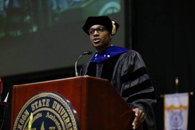 """Dr. James T. Minor, a JSU alum and deputy assistant secretary in the Office of Postsecondary Education in the U.S. Department of Education, told graduates that """"there are plenty of spaces for you to insert yourself and your newly minted master's degree or Ph.D. into this social landscape to deal with challenges and opportunities. (Photo by Charles A. Smith/JSU)"""