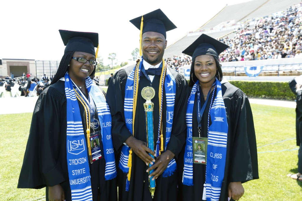 Members of the Jackson State University Class of 2016 celebrate commencement exercised held April 23 that featured First Lady Michelle Obama as the keynote speaker.