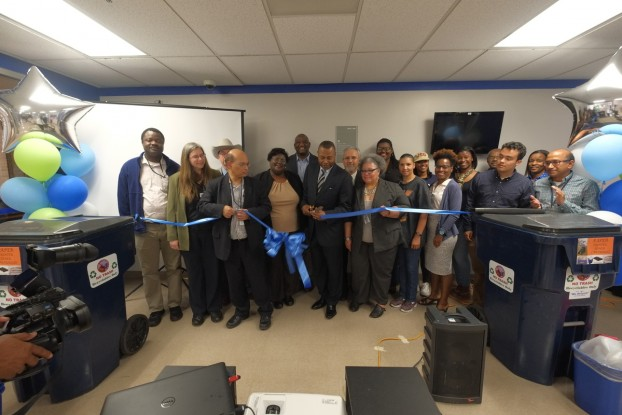 The Jackson Medical Mall celebrates it new recycling effort, spearheaded by the College of Public Service. The project allows students, staff and faculty to stockpile items that can be processed later into reusable goods. (Photo by Charles A. Smith/JSU)