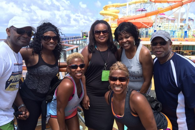 JSU relied on alums and supporters to reel in a big financial catch during the annual Tom Joyner Foundation Fantastic Voyage. Those aiding the institution included Dr. Dyrren Davis, left, a JSU supporter; Tarita Davis, a JSU alum and second vice president of the Jackson State University National Alumni Association; Elaine Davis, a JSU supporter; Pamela Alexander, director of community development for the Ford Motor Company Foundation who spearheaded the HBCU community challenge; Charmaine Davis, a JSU supporter; Shirley Fax, a JSU alum; and Darryl Pilate, a member of the JSU Development Foundation Board.
