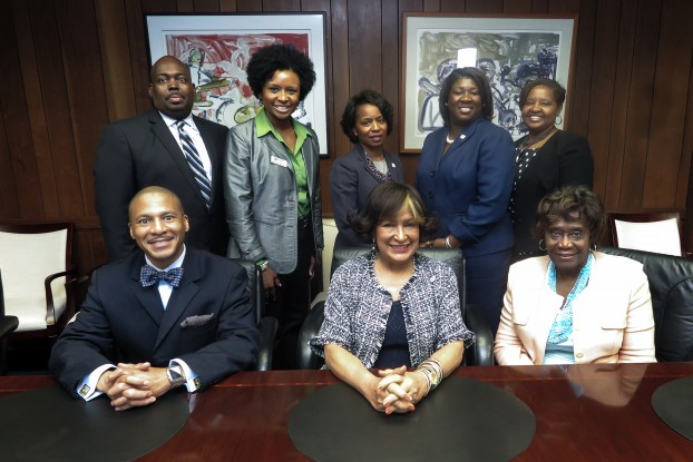 Smiles all around as Jackson State University and Jackson Public School District leaders acknowledge Dual-Enrollment Grant announcement.
