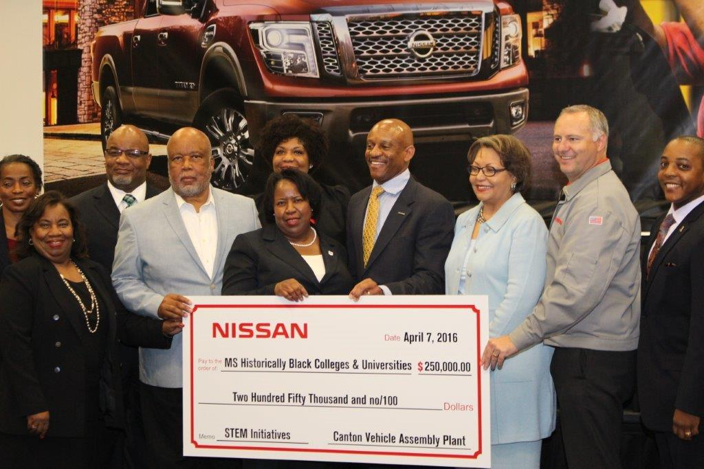Congressman Bennie Thompson (fourth from left) and Dr. Loretta Moore, JSU vice president for Research and Federal Relations (fifth from left), join representatives from NISSAN and other Mississippi HBCUs in acknowledging the STEM Initiatives gift from Nissan North America Inc.