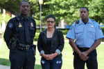 Jackson State University's public safety officers recently completed training on a new system to improve the quality of incident reporting, among those in attendance were Lieutenant Lawrence Wiley, left, Carrie Hyche and James Walton. (Photo by Charles A. Smith/JSU)