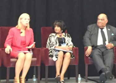 JSU's President Carolyn W. Meyers (center) joins NCAA  panel at recent conference.