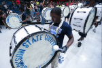 "Jackson State University freshmen and upperclassmen perform during ""The Merge"" - a celebratory musical tribute to the end of summer band camp. (Photo by Charles A. Smith)"
