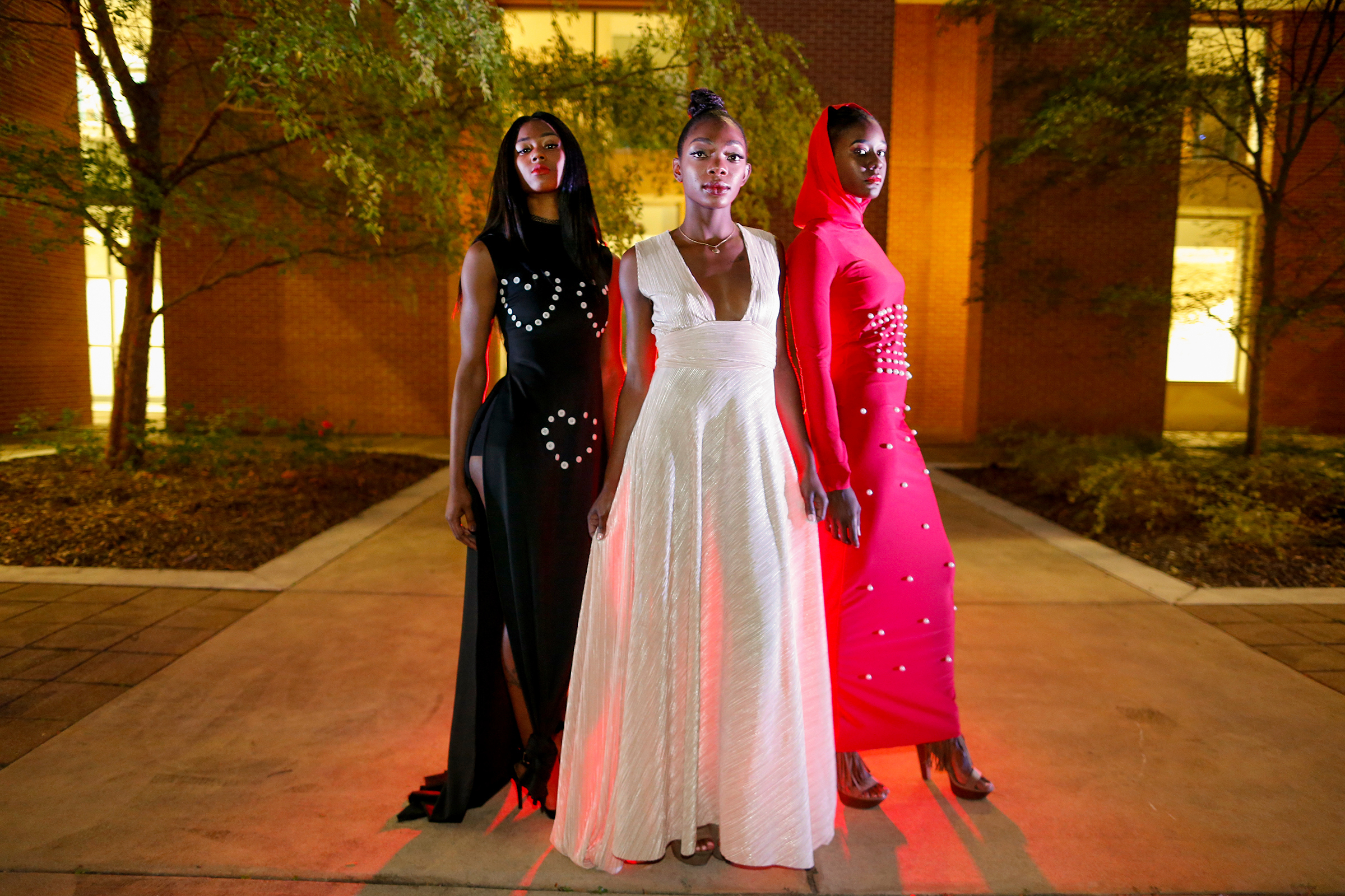 Student models from JSU and Tougaloo pose in Kelly type styles designed by Kamie's Kreations. (Photo by Charles A. Smith/JSU)