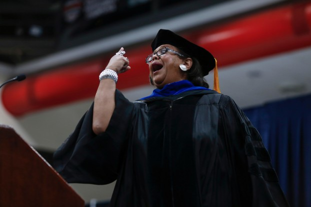 Keynote speaker Cynthia M.A. Butler-McIntyre rallies the audience during the 139th Founders' Day Convocation inside the Lee E. Williams Athletics and Assembly Center on Thursday. She urged the audience to fully embrace its alma mater. (Photo by Charles A. Smith/JSU)