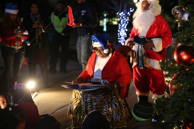 Mr. and Mrs. Claus share holiday stories with youths (and adults) during JSU's annual Holidays Under the Stars. (Photo by Spencer McClenty/JSU)