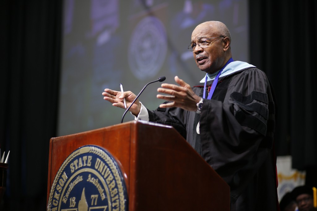 Dr. Rod Paige, interim president, channeled his former days as a JSU football coach as he inspired the 2016 graduates.  (Photo by Charles A. Smith/JSU)
