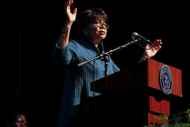 """Keynote speaker Cheryl Brown Henderson said her father, the Rev. Oliver L. Brown, unexpectedly became the """"standard-bearer"""" for the case of Brown v. the Topeka Board of Education despite not being the lead plaintiff. Brown Anderson addressed an audience of faculty and staff during the 49th Annual Martin Luther King Jr. Birthday Convocation on Friday inside the Rose E. McCoy Auditorium. (Photo by William Kelly/JSU)"""