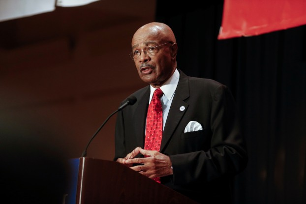 JSU interim President Dr. Rod Paige urges an audience of business leaders and politicians attending Capital Day for the Mississippi Economic Council to continue supporting Jackson State because of its economic impact on the city and state. Paige spoke Thursday morning inside the downtown Marriott. (Photo by Charles A. Smith/JSU)