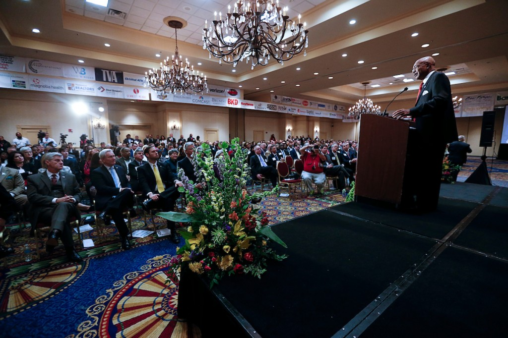 """Paige, who had shared the stage with Mississippi Gov. Phil Bryant and Secretary of State Delbert Hosemann, describes a roomful of stakeholders as """"the wind of the wings"""" for helping the university soar to greater heights. (Photo by Charles A. Smith/JSU)"""