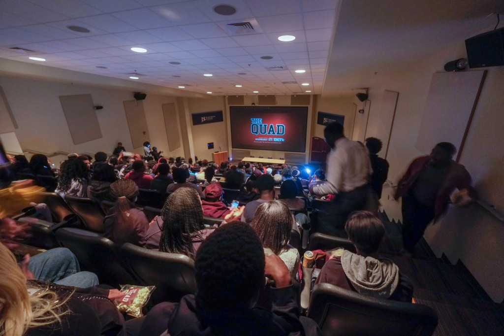 "Students laughed and applauded while watching the 2-hour screening of ""The Quad"" last Thursday in the University's Student Center. (Charles A. Smith/JSU)"