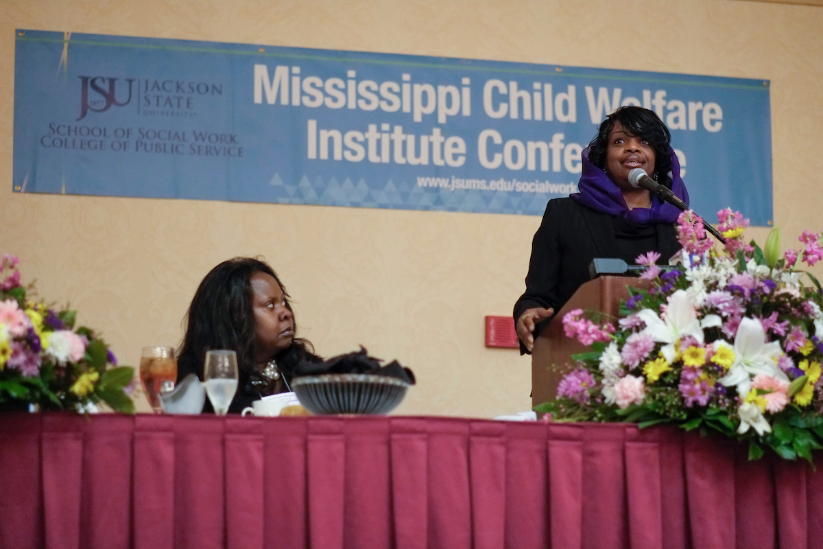 Mildred Muhammad gives a riveting account of surviving death threats and abuse by her former husband, John Muhammad – notoriously referred to as the 2002 Beltway sniper. Mildred was the keynote speaker for the 15thAannual Mississippi Child Welfare Institute Conference on Friday, Feb. 8.