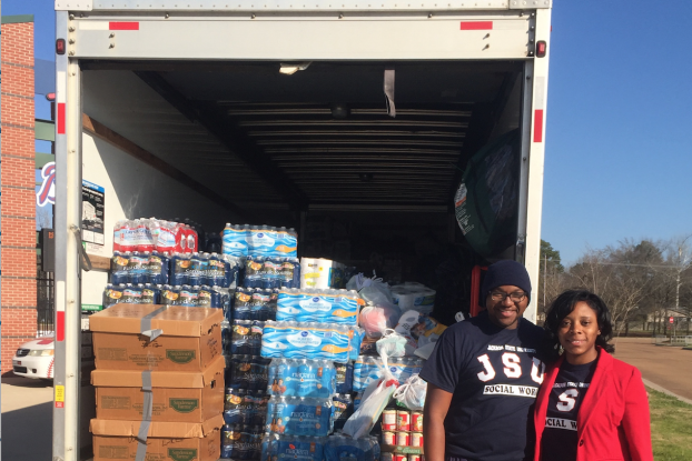 Ahfiya Howard, interim chair of the Bachelor of Social Work department, aided in the collection of items for William Carey College, which sustained damage from a recent tornado. She was joined by Melvin McNair, a senior social work major and president of the Phi Alpha social work association.