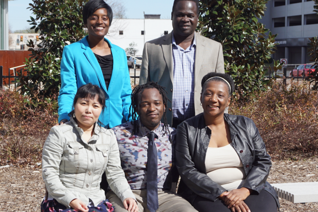 Students will showcase their research during the fifth annual HBCU Climate Change Conference in New Orleans on March 15-19. Appearing with Dr. Yaw Twumasi, standing right, a JSU visiting professor with Geographical Information Systems (GIS) in the Department of Urban and Regional Planning are Le Bu, seated left, Reginald S. Davis and Sabrina White; and Tiffany Lomax.