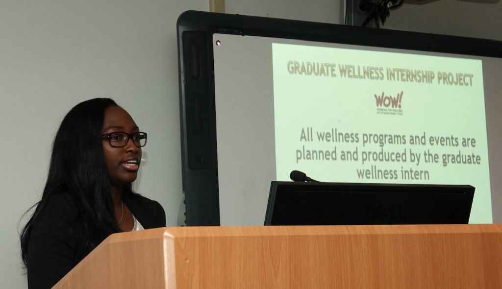 "Scarlett Howell shared her message during the fall presentation: ""Evaluation of a Wellness Project."""