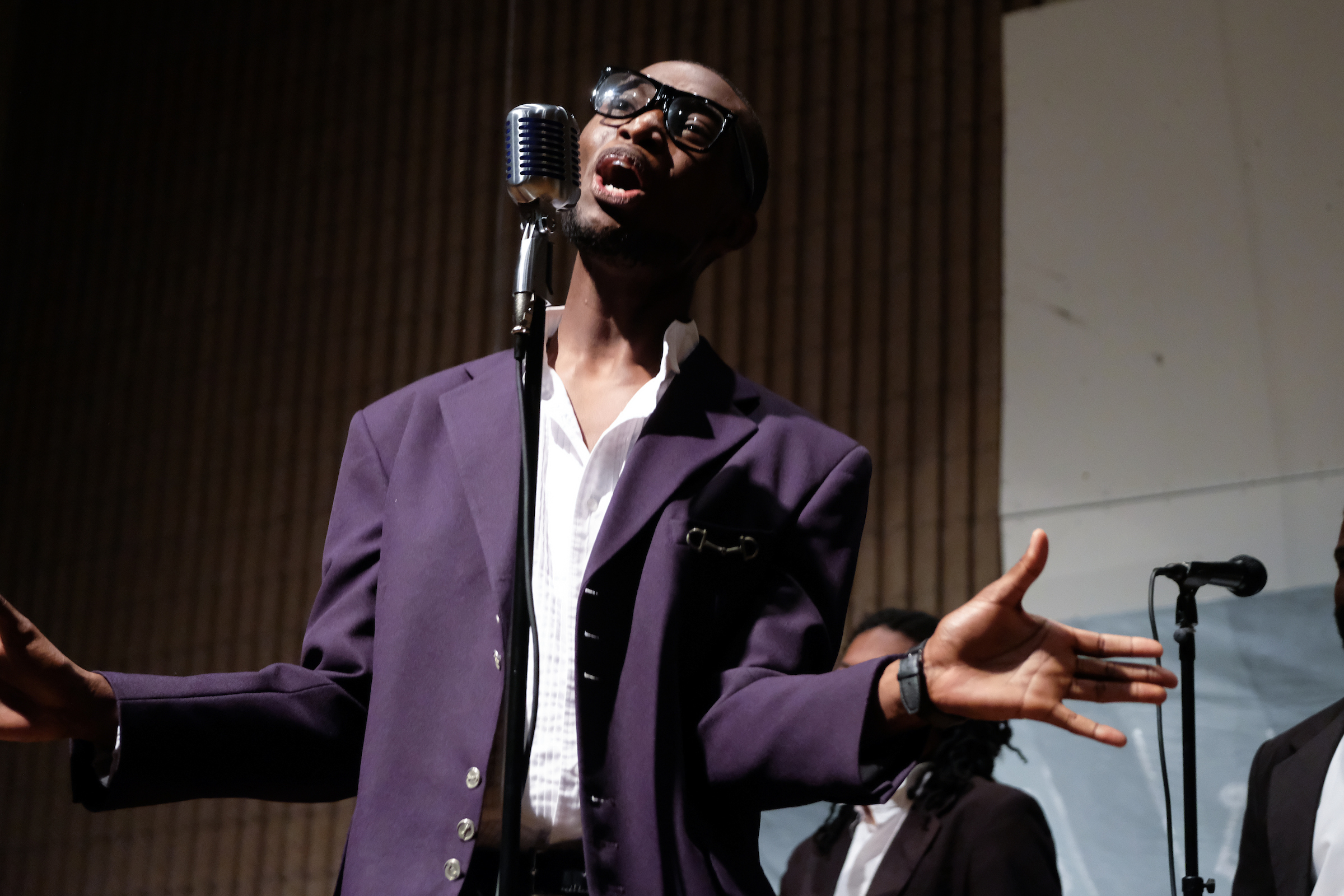 "Jordan Scott channels David Ruffin in the Temptations classic ""Ain't Too Proud to Beg"" during the Department of Music's ""From Mozart to Motown"" musical theater production. (Charles A. Smith/JSU)"
