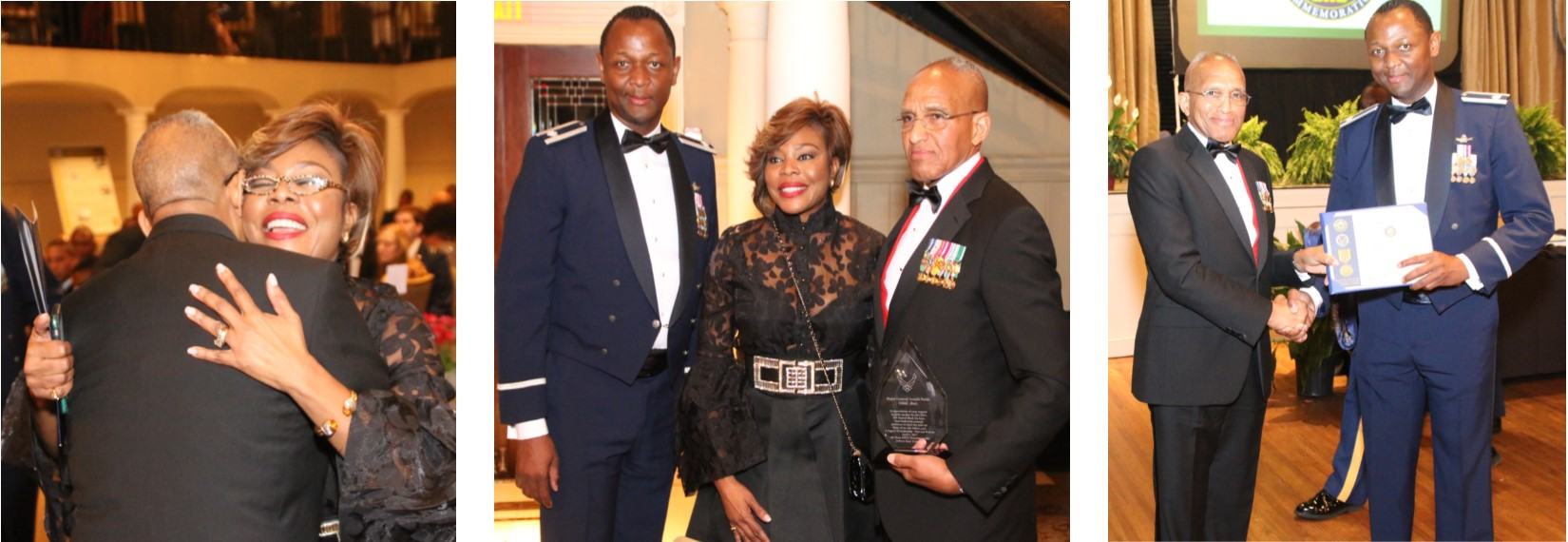 Left: Major Gen. (Ret.) Arnold Fields of the U.S. Marine Corps embraces Stephanie-Nellons Paige, wife of Jackson State University interim President Rod Paige, after her remarks during the 2nd annual Black Tie Gala on Saturday, April 1, inside the Old Capitol Inn. Center: Lt. Col. Timothy Henderson, commander of the Air Force ROTC at JSU is featured with Nellons-Paige and Fields. Right: Fields congratulates Henderson for JSU's participation as a national partner in the recognition of Vietnam veterans or Vietnam-era veterans. (Photos courtesy of James Haynes)