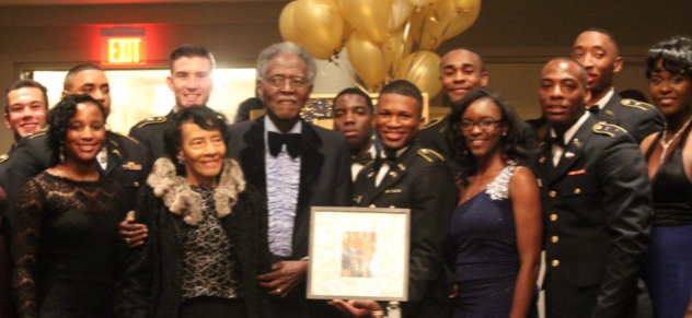 JSU Army ROTC cadets salute Tiger Battalion founder President Emeritus Dr. John A. Peoples Jr. at its annual spring 2017 gala commemorating the program's 50th anniversary.