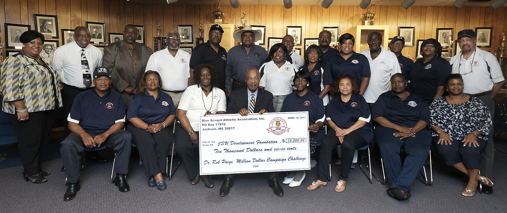 "The Blue Bengal Athletic Association joins in the fundraising effort at Jackson State University. JSU interim President Rod Paige, said, ""It shows people have a great love for this university, not an inactive love but an active love by working and making such a significant contribution."" (Photo by Charles A. Smith/JSU)"