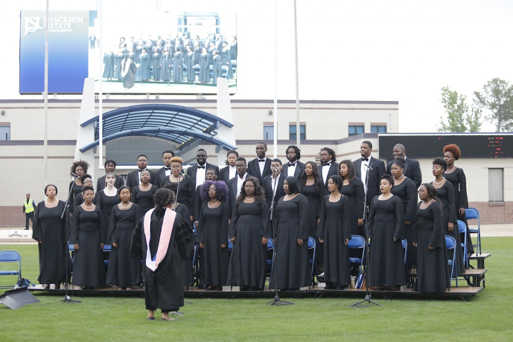 The JSU Chorale performed the Battle Hymn of the Republic and My Soul's Been Anchored in the Lord. (Photo by Charles A. Smith/JSU)