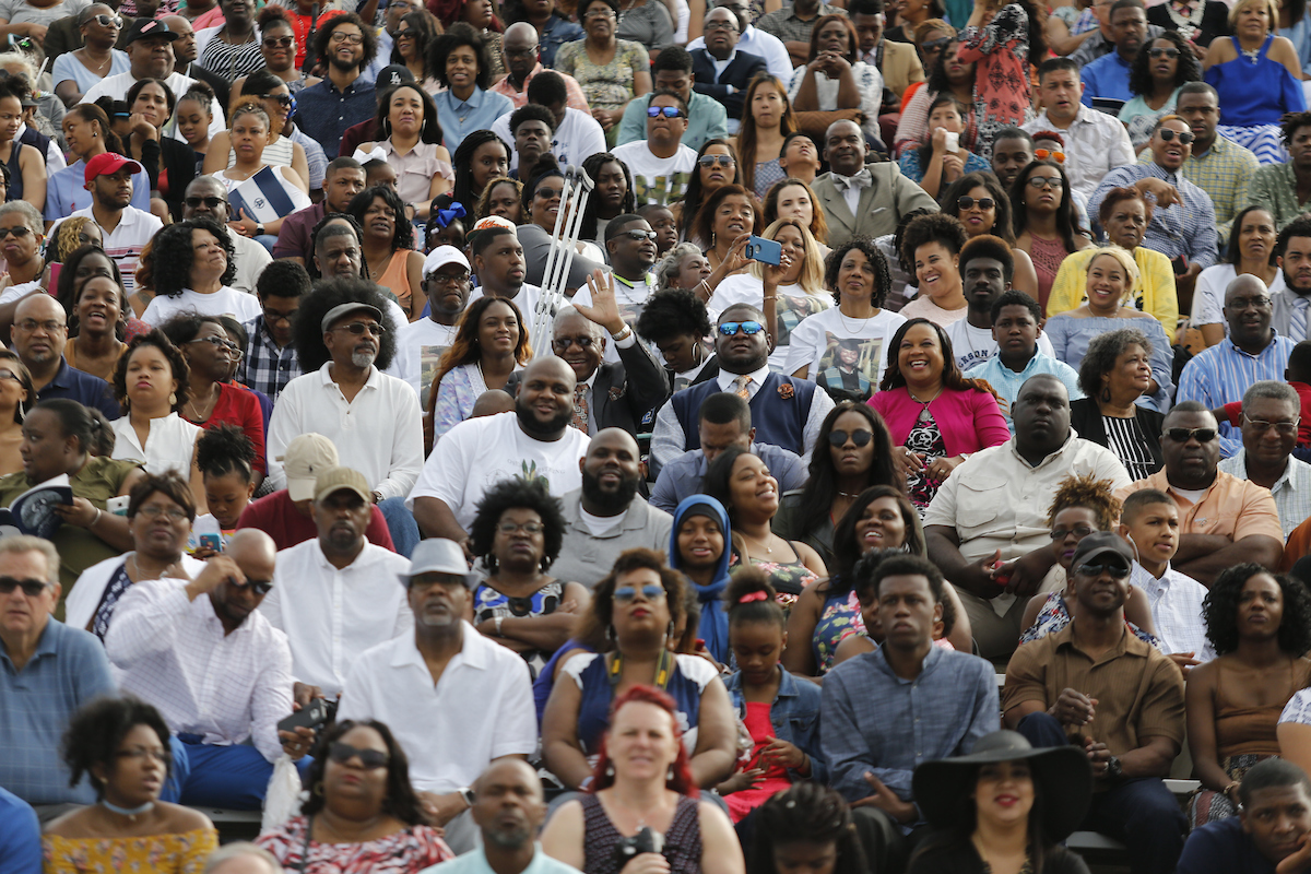 A large crowd eagerly awaits the recognition of their loved ones. (Photo by Charles A. Smith/JSU)