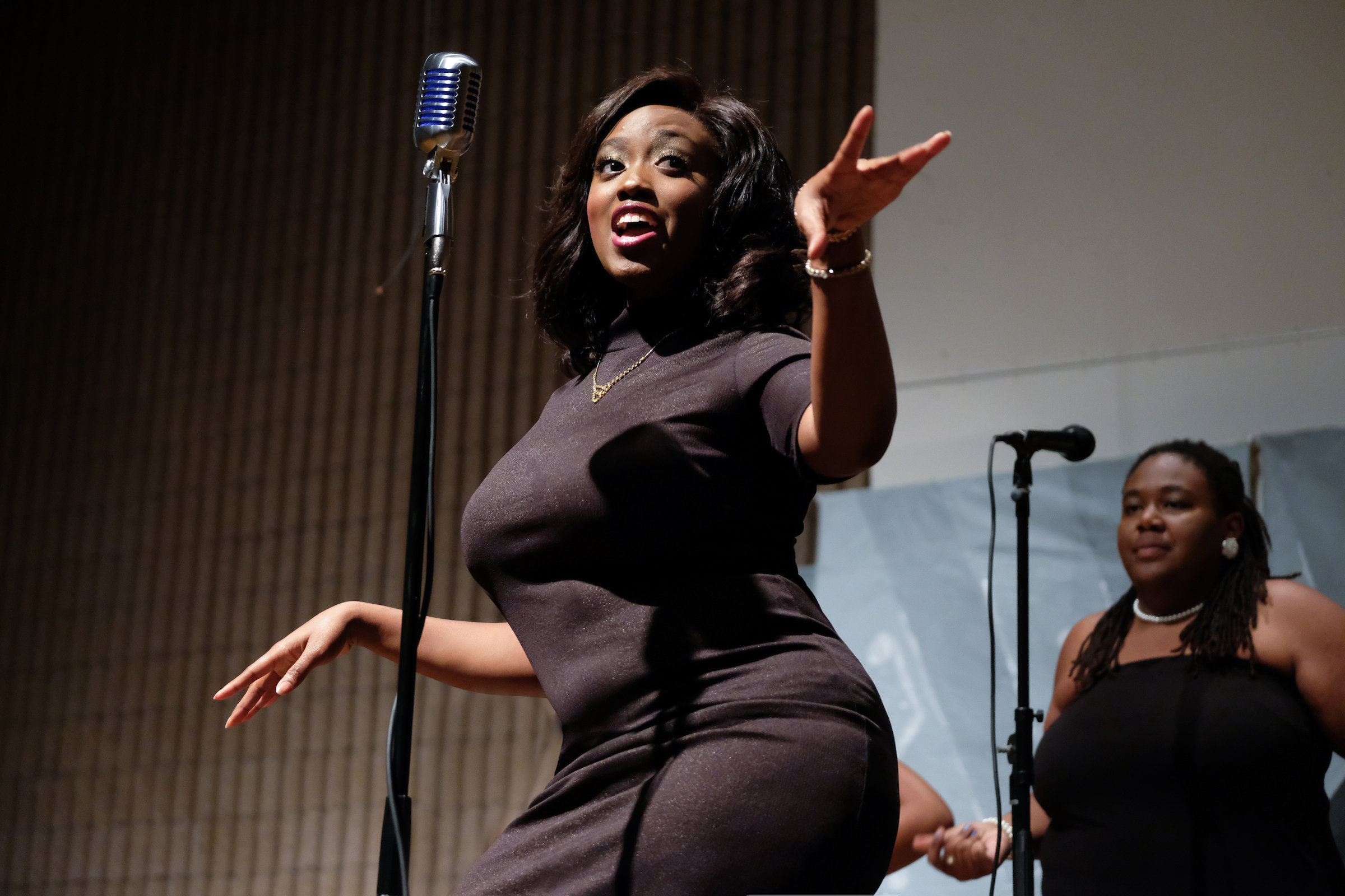 "Chelsea Coleman, Ginaie Black and Kyla Hutchins are Martha and the Vandellas as they shimmy and shake to ""Heatwave."" (Charles A. Smith/JSU)"