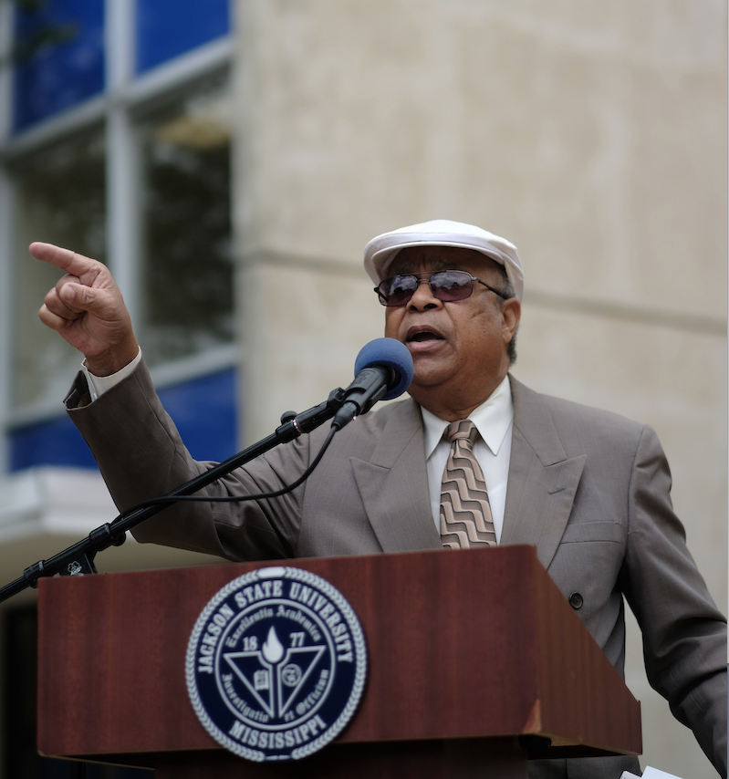 "James ""Lap"" Baker witnessed the May 1970 tragedy that left two young people dead. ""History has the proneness to repeat itself, and we have to be very careful not to forget,"" he warned. (Photo by Charles A. Smith/JSU)"